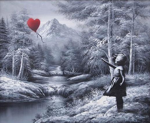 niña globo corazon