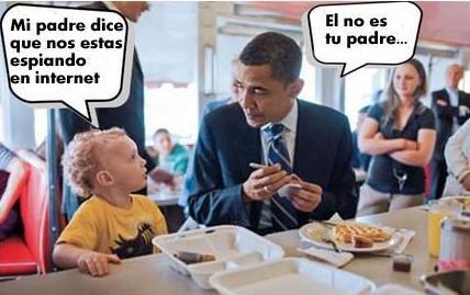niño a obama - mi padre dice que nos estas espiando en internet - el no es tu padre