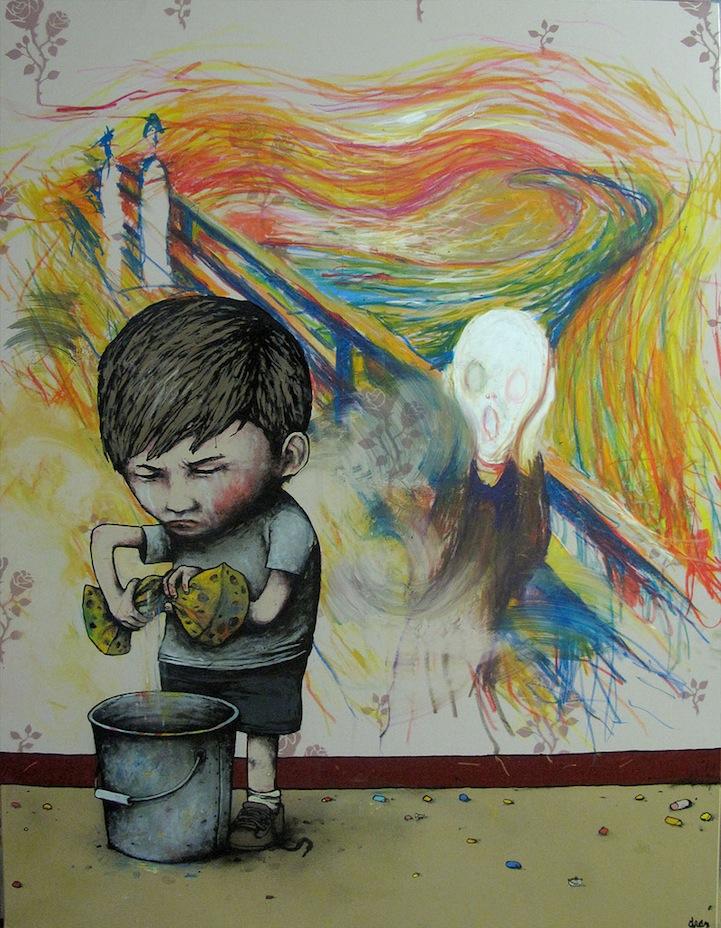 niño borrando pintura de el grito