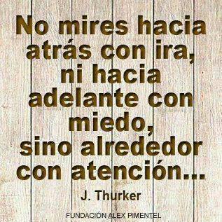 No mires hacia atras con ira, ni hacia adelante con miedo, sino alrededor con atencion (J. Thurker)