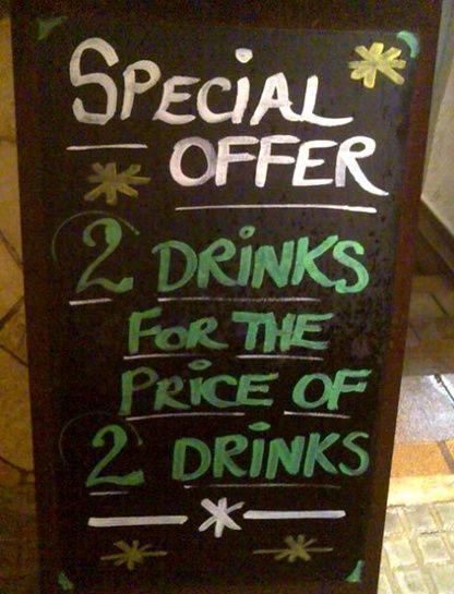 Oferta especial: 2 bebidas por el precio de 2