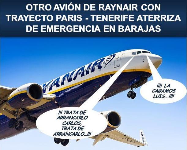 Otro avión de Ryanair con trayecto París-Tenerife aterriza de emergencia en Barajas