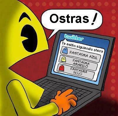 pacman - te estan siguiendo en twitter fantasma azul, fantasma amarillo, fantasma rojo