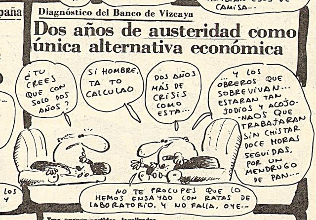 Viñeta de hace 35 años sobre la austeridad