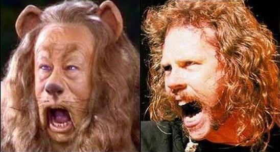 Parecidos razonables: James Hetfield (Metallica) y león cobarde (Mago de Oz)