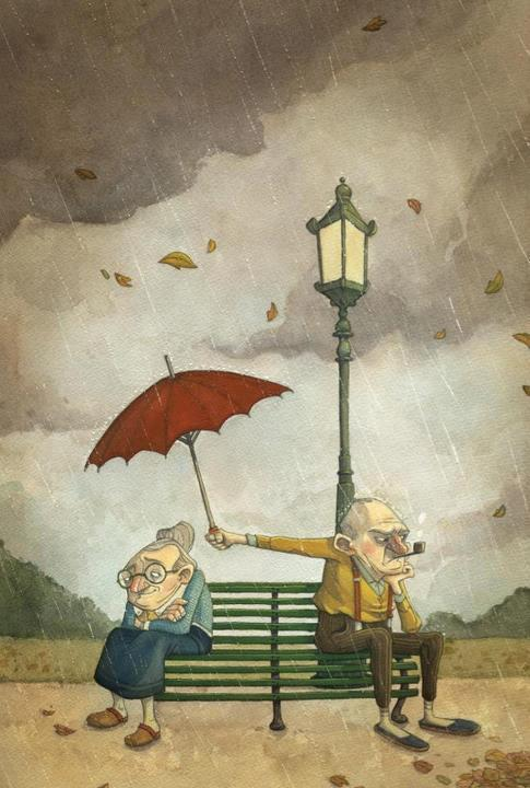 pareja de ancianos el tapando con paraguas a ella