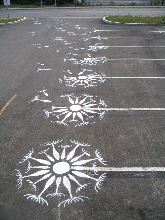parking flores diente de leon