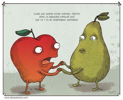 Amor platónico entre pera y manzana