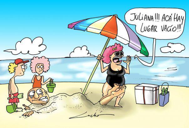 Buscando sitio en la playa