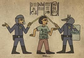 Policías vs manifestantes en cultura egipcia
