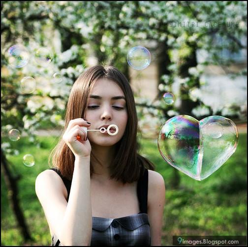 Pompas en forma de corazón