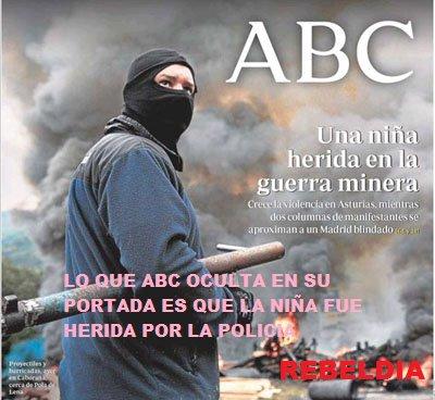 Portada de ABC - Niña herida en la guerra minera