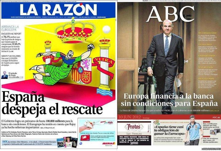 El rescate a los bancos españoles según La Razón y ABC