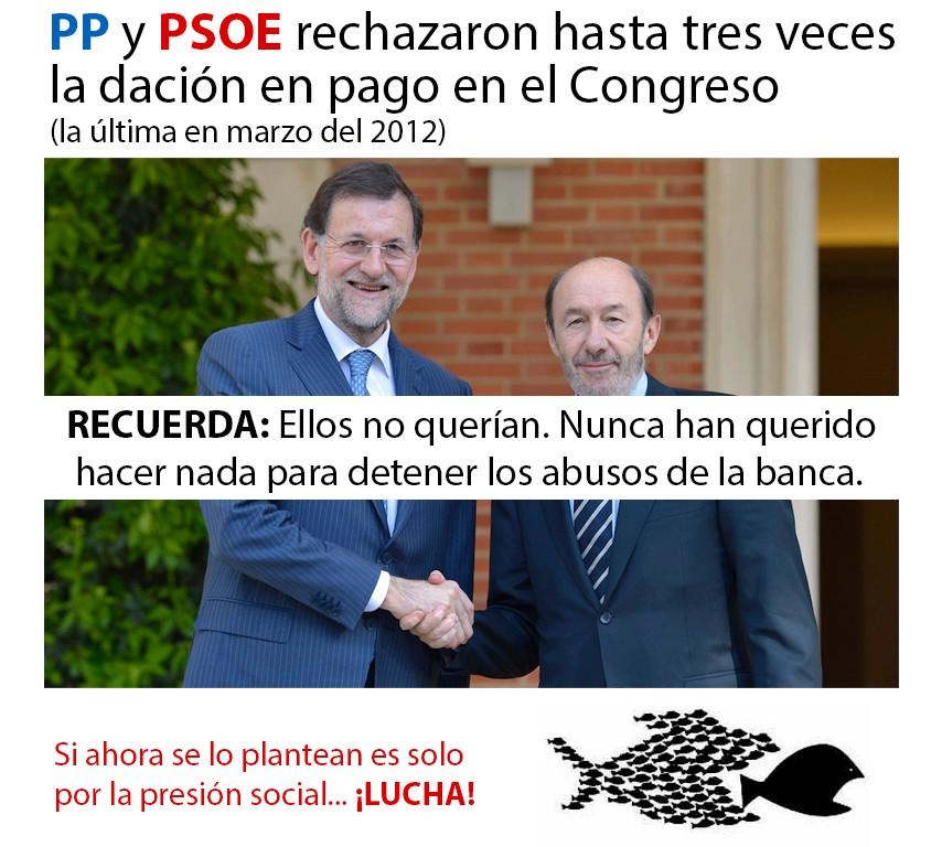 PP y PSOE rechazaron hasta 3 veces la dación en pago en el congreso