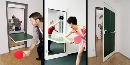 Puerta convertible en mesa de ping pong