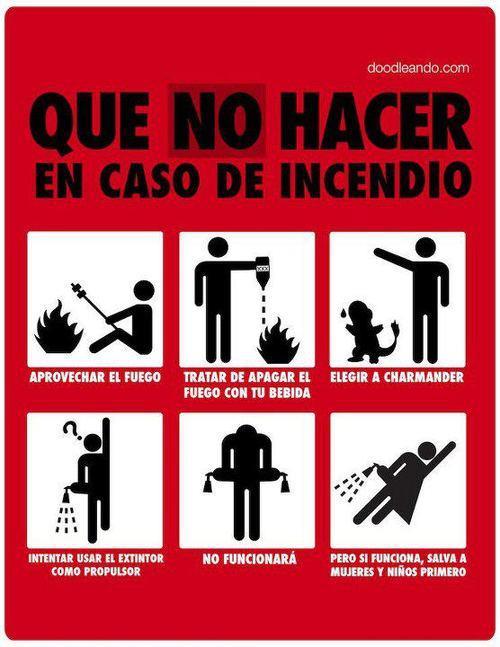 Qué no hacer en caso de incendio