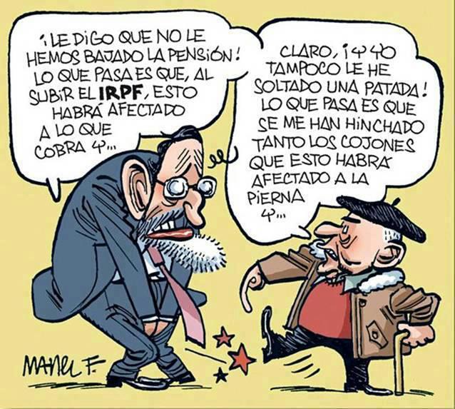 Rajoy dando explicaciones a un anciano