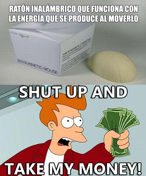 Ratón inalámbrico que funciona con la energía que se produce al moverlo