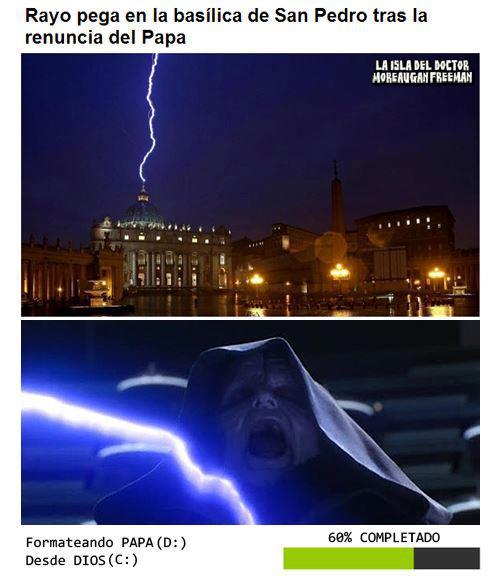 rayo cae en la basilica de san pedro tras la renuncia del papa - formateando papa desde dios