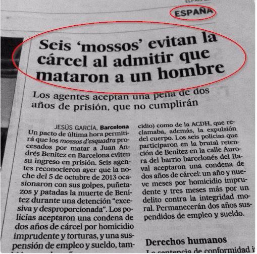recortes titular seis mossos evitan la carcel al admitir que mataron a un hombre