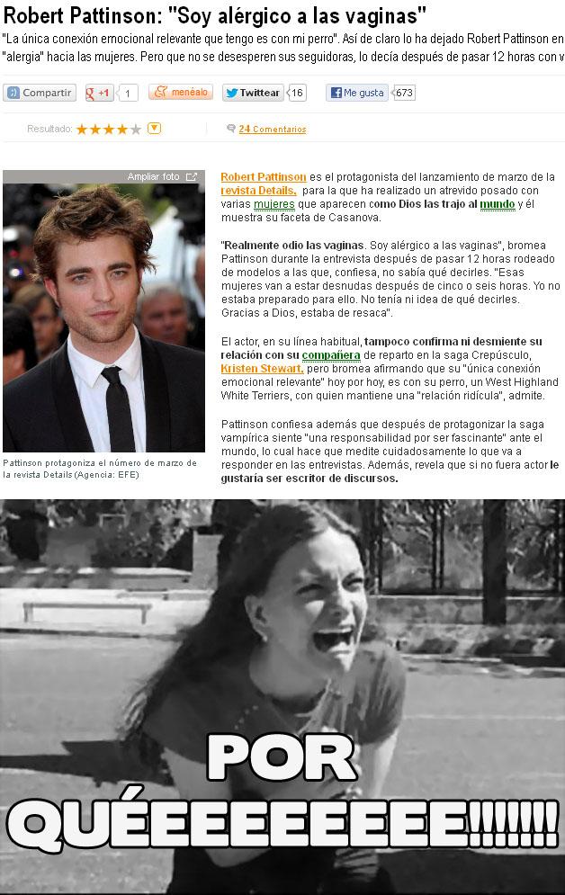Robert Pattinson: Soy alérgico a las vaginas. Reacciones
