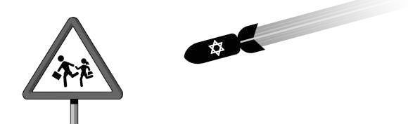 Señal de tráfico en Palestina