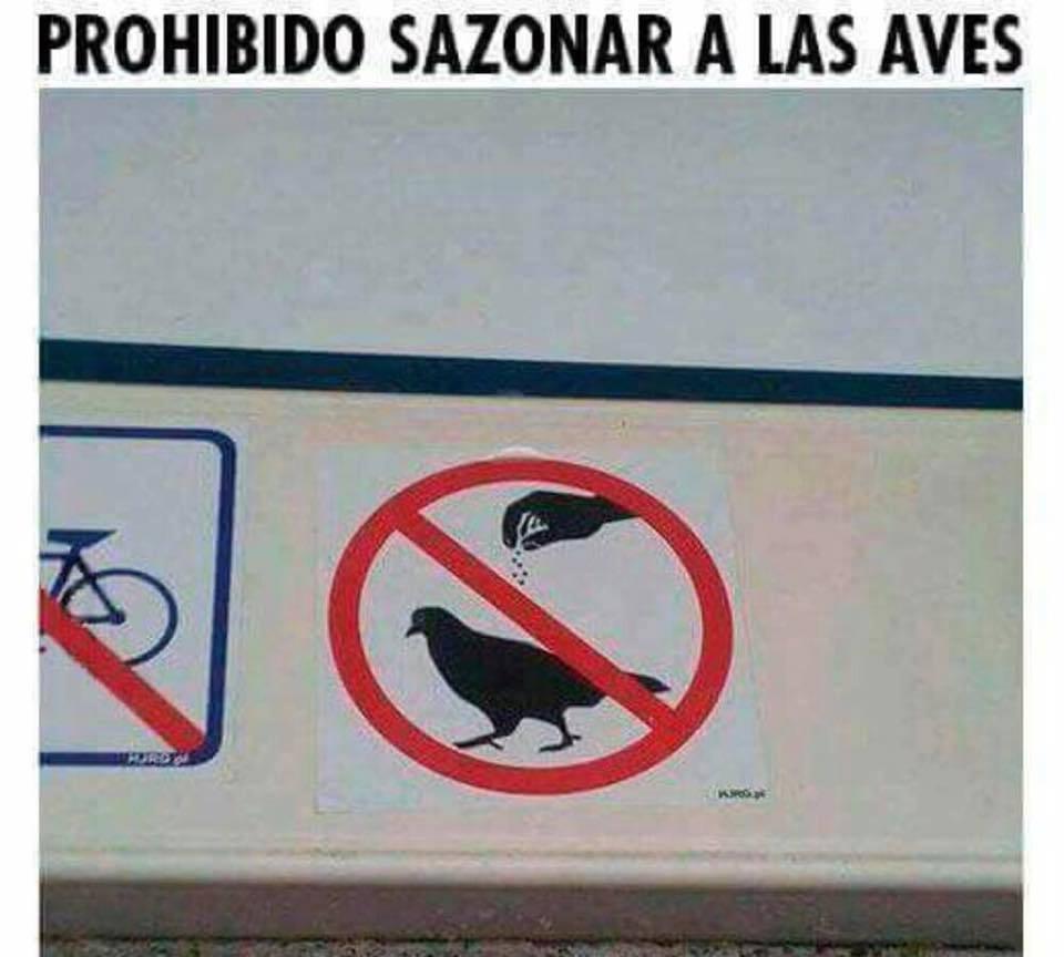 señal prohibido sazonar a las aves