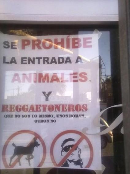 Se prohibe la entrada a animales y reggaetoneros