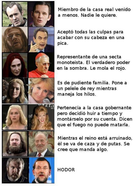Políticos españoles y Juego de Tronos