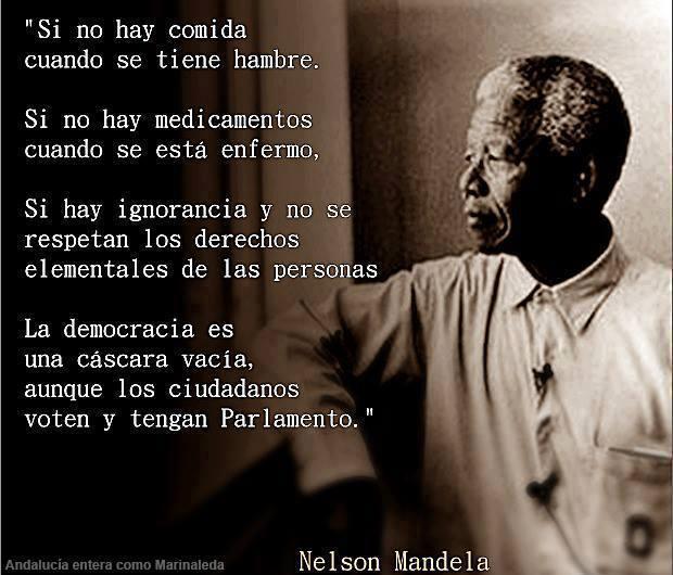 si no hay comida, medicamentos y no se respetan los derechos, la democracia es una cascara vacia - nelson mandela