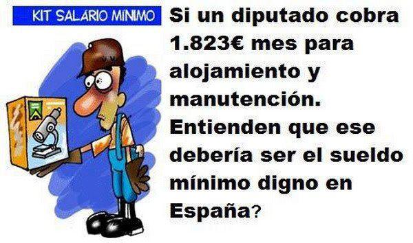 Dieta de alojamiento y manutención de diputados y sueldo mínimo en España