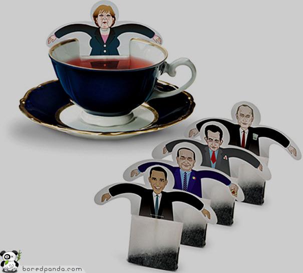 Sobres de té con políticos a tu elección