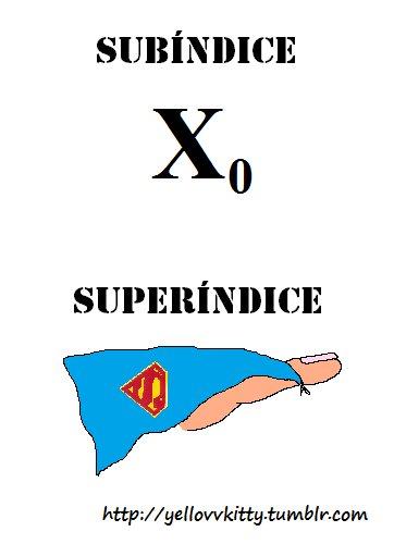 Diferencia entre subíndice y superíndice