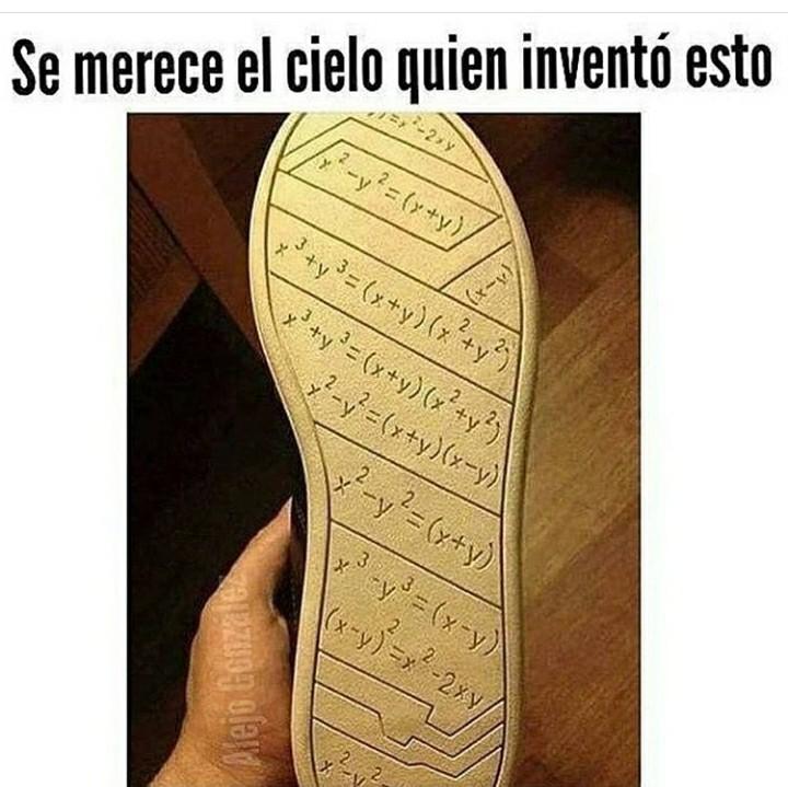 suela de zapato con chuleta matematicas