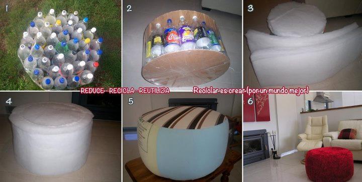 Taburete con botellas de plástico