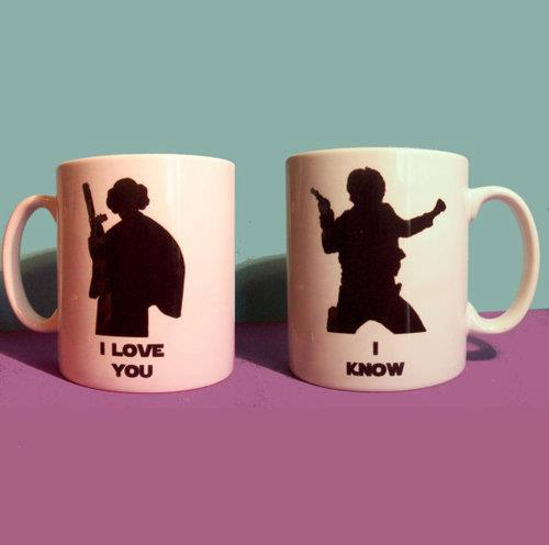 tazas star wars princesa leia i love you - han solo i know