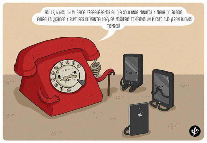 telefono fijo hablando con moviles - en mi epoca trabajabamos solo unos minutitos al dia - teniamos un puesto fijo