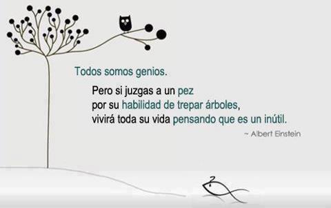 Todos somos genios, pero si juzgas a un pez por su habilidad de trepar árboles, vivirá toda su vida pensando que es un inútil (Albert Einstein)