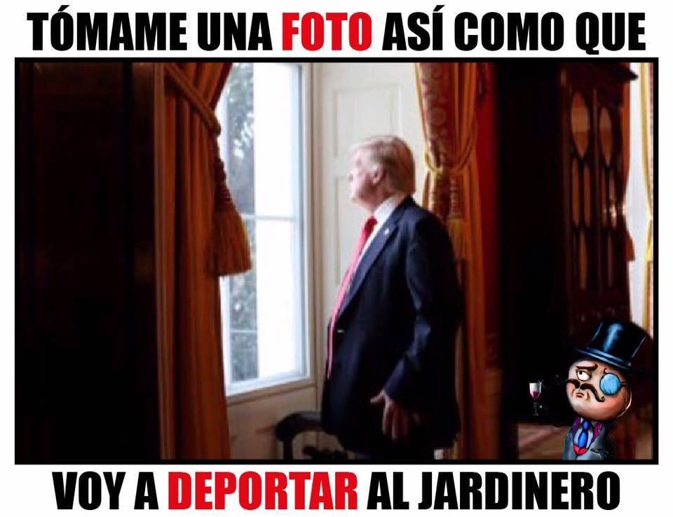 Tómame una foto así como que voy a deportar al jardinero
