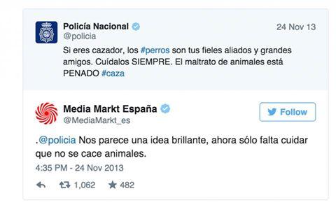 tuits policia si eres cazador cuida a tus perros media markt idea brillante, que no se cace animales