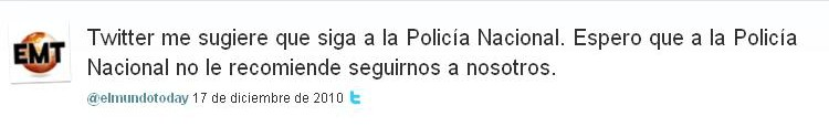 Twitter me sugiere que siga a la Policía Nacional