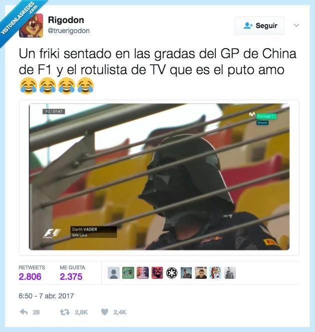 twitter un friki sentado en las gradas del gp de china de f1 y el rotulista de tv que es el puto amo darth vader