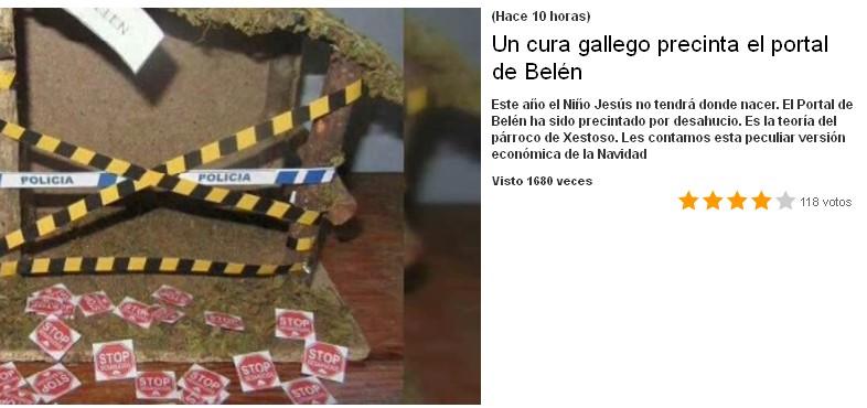 un cura gallego precinta el portal de belen