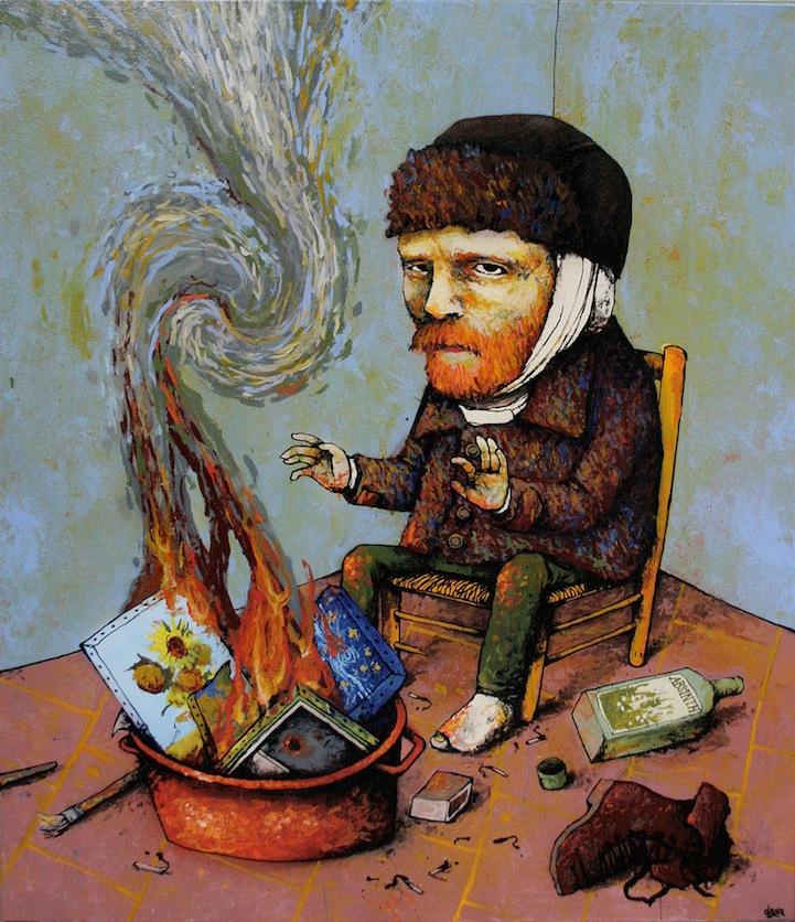 Van Gogh quemando sus cuadros para calentarse