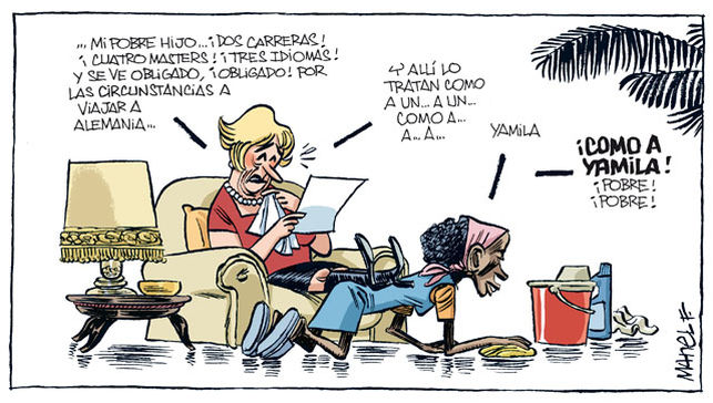 viñeta Fontdevila - mi pobre hijo obligado a viajar a alemania - lo tratan como a yamila