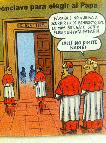 viñeta conclave para elegir papa en españa no dimite nadie