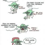 Yoda pidiendo una pizza