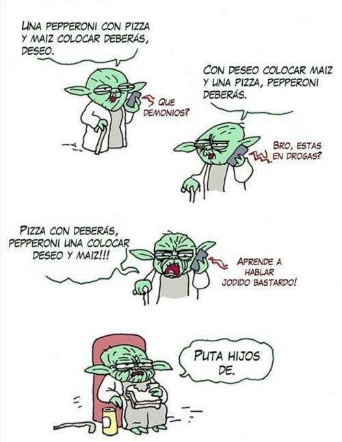 Yoda pidiendo una pizza