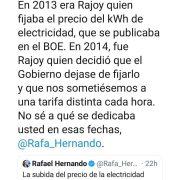 Megazasca de Rubén Sánchez a Rafael Hernández respecto al precio de la electricidad