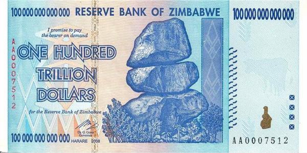 Zimbabue - Billete de 100 trillones de dólares